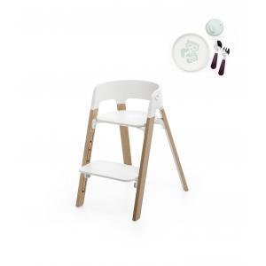 Stokke - BU170 - Chaise enfant steps stokke et coffret essentiels (Chêne naturel, assise blanc) (418276)