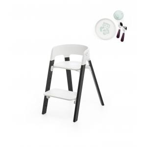 Stokke - BU171 - Chaise enfant stokke steps et coffret repas essentiels (Chêne noir, assise blanc) (418278)
