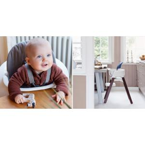 Stokke - BU172 - Chaise enfant steps Stokke avec Munch coffret essentiels (Hêtre bleu nuit, assise blanc) (418280)