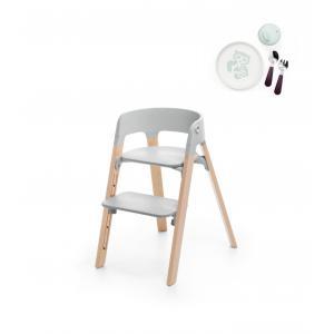Stokke - BU184 - Steps stokke chaise enfant et coffret repas essentiels Munch (Hêtre naturel, assise gris) (418304)