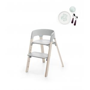 Stokke - BU185 - Chaise Steps Stokke, La chaise polyvalente (Hêtre blanchi, assise gris) (418306)
