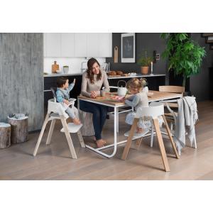 Stokke - BU192 - Chaise enfant polyvalente Stokke Steps (Chêne blanc, assise gris) (418320)