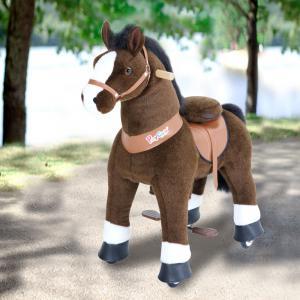 Ponycycle - U421 - Ponycycle Cheval Marron fonce blanc a monter Grand modele - Age 4-9 ans (418692)