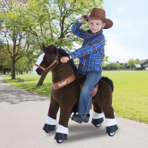 Ponycycle - U321 - Cheval marron foncé et bas des jambes blancs petit modèle - 69x33x79 cm (418700)