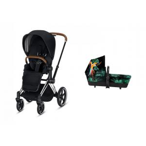 Cybex - BU265 - Pack Poussette PRIAM LUXE chrome marron nacelle Birds of paradise (418948)