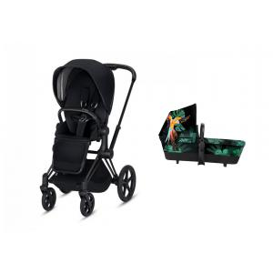 Cybex - BU263 - Pack Poussette PRIAM LUXE matt black nacelle Birds of paradise (418952)