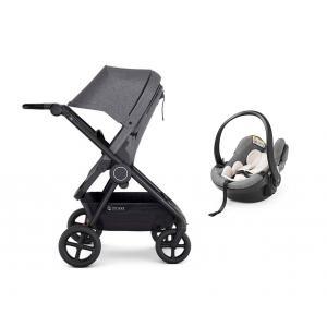 Stokke - BU203 - Travel system 2-en-1 Poussette Beat et Siège auto bébé iZi Go Modular™ X1 by BeSafe® Noir Melange (419802)