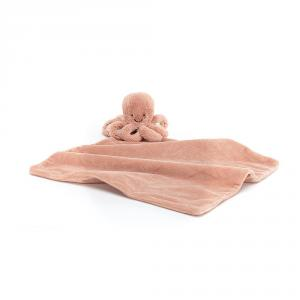 Jellycat - OD4S - Doudou plat poulpe Odell rose Soother - L = 12 cm x l = 34 cm x H =34 cm (420212)