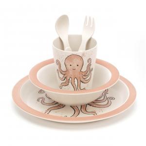 Jellycat - OD4BAM - Coffret repas bambou pouple Odell rose - L = 12 cm x l = 7 cm x H =25 cm (420216)