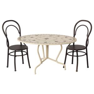 Maileg - 11-9101-01 - Dining table set, Mini - Anthracite - Taille 8 cm - à partir de 36 mois (421740)