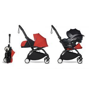 Babyzen - BU352 - Poussette naissance YOYO2 noir rouge combiné avec siège auto iZi go Modular et ombrelle (pack naissance 2019) (421884)