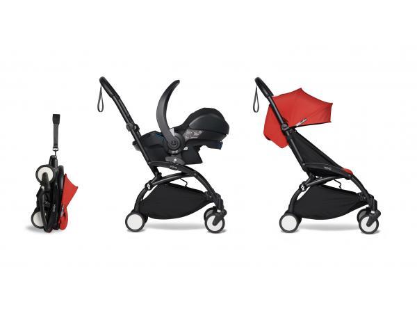 Poussette pratique et légère yoyo 2 rouge avec siège auto bébé izi go modular - noir 6+