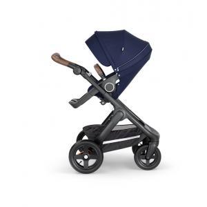 Stokke - 562208 - Stokke® Trailz™ noir avec guidon et garde corps en simili cuir marron Deep Blue (422814)