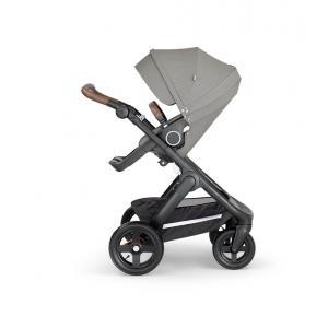 Stokke - 562206 - Stokke® Trailz™ noir avec guidon et garde corps en simili cuir marron Brushed Gris (422816)