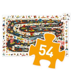 Djeco - DJ07564 - Puzzle observation Rallye automobile - 54 pièces (423160)