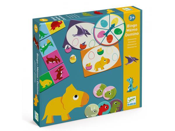 Jeux éducatifs - bingo memo domino - dinosaures