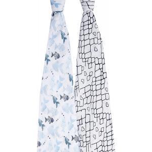 Aden and Anais - ASWC20002 - Pack de 2 maxi-langes en mousseline de coton gone fishing (423930)
