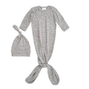Aden and Anais - AGHN20002 - Coffret cadeau bébé grenouillère nouée maille ultra-cosy + bonnet heather grey (taille: 0 - 3 mois) (424008)