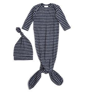 Aden and Anais - AGHN20003 - Coffret cadeau grenouillère nouée et bonnet navy stripe (taille: 0 - 3 mois) (424010)