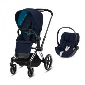 Cybex - BU321 - Pack poussette Priam avec siège auto Cloud Z - Chrome noir, nautical bleu (426802)
