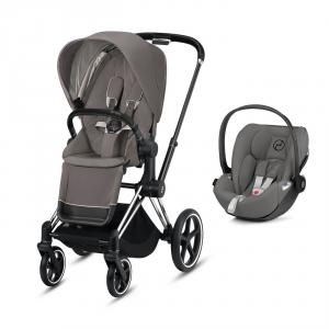 Cybex - BU322 - Pack poussette Priam et siège auto Cloud Z - Chrome noir, soho grey (426804)