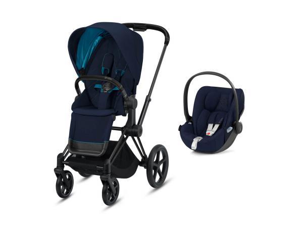Poussette siège réversible priam et siège auto cloud z - noir, nautical blue
