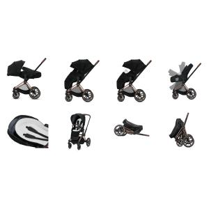 Cybex - BU337 - Poussette Priam avec light cot 2en1 respirant confortable - noir, soho grey (426834)
