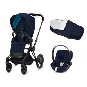 Cybex - BU339 - Poussette Priam, light cot 2en1 (nacelle-chancelière), siège auto Cloud Z - noir, nautical blue (426838)