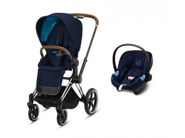 Poussette siège reversible priam avec siège auto - chrome marron, natical blue