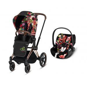Cybex - BU355 - Poussette Priam et siège auto editions spéciales Spring Blossom noir (426870)