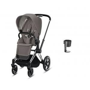Cybex - BU362 - Poussette Priam avec porte gobelet - Chrome marron, soho grey (426880)