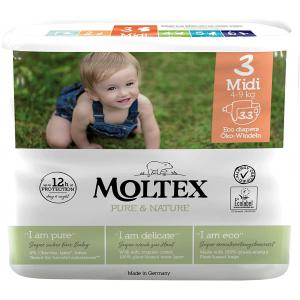 Moltex - 153555 - Pure et Nature - 33 Couches jetables Midi 4-9 kg (428646)
