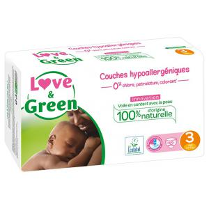 Love And Green - 06LGPJBMIDI101 - Couches Bébé Hypoallergéniques 0% - Taille 3 (4-9 kg), 52 couches (429952)