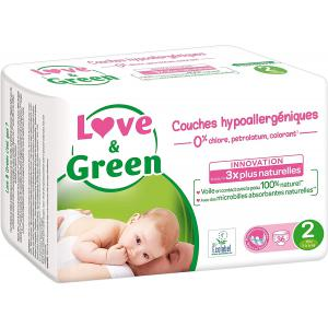 Love And Green - 06LGCJMINI101 - Couches Bébé Hypoallergéniques 0% - Taille 2 (3-6 kg) - 36 couches (429958)