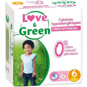 Love And Green - 05LGCAJ6101 - Pack de 16 Culottes Hypoallergéniques - Taille 6 (+ de 16 kg) (429964)