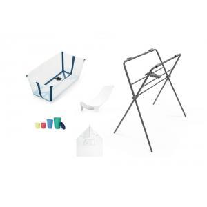 Stokke - BU219 - Set de bain baignoire, support, transat nouveau-né, cape de bain, jouets - transparent blue (432704)