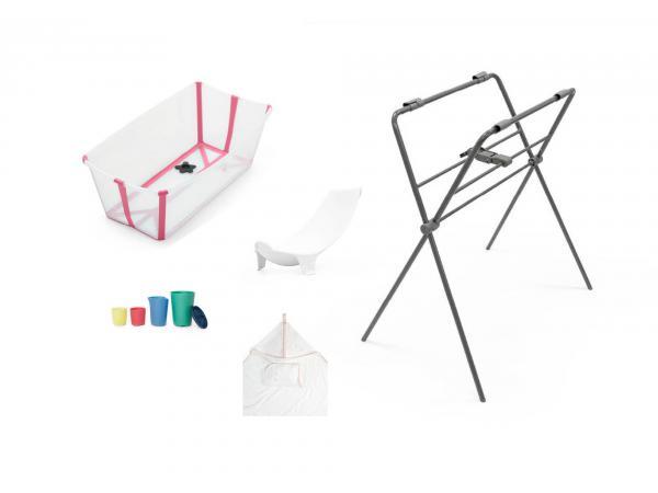 Set de bain baignoire, transat nouveau-né, support, cape de bain, jouets - transparent rose