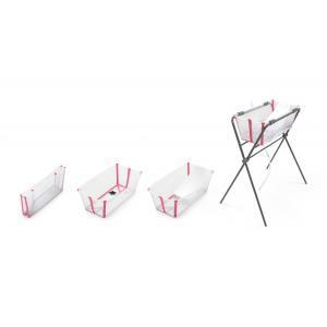 Stokke - BU220 - Set de bain baignoire, transat nouveau-né, support, cape de bain, jouets - transparent rose (432706)