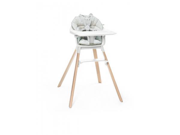 Chaise haute stokke clikk blanc et coussin
