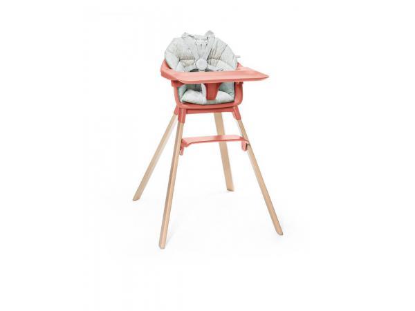 Chaise haute clikk stokke corail avec coussin