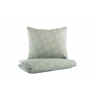 Nobodinoz - N114071 - Housse de couette junior Himalaya WHITE GATSBY/ ANTIQUE GREEN (432948)