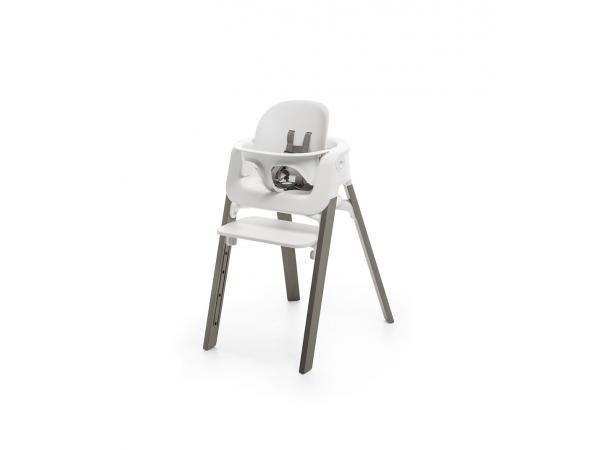 Stokke chaise steps hêtre gris brume babyset blanc