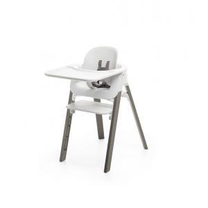 Stokke - BU347 - Sttokke chaise Steps hêtre gris brume babyset et tablette blanc (450868)