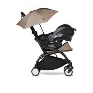 Babyzen - BU660 - Poussette naissance YOYO 2 taupe combiné avec siège auto iZi go Modular et ombrelle (cadre noir 0+) (451372)