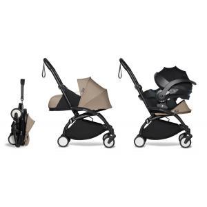Babyzen - BU660 - Poussette naissance YOYO 2 taupe combiné avec siège auto iZi go Modular et ombrelle (cadre noir nouveau pack 0+) (451372)