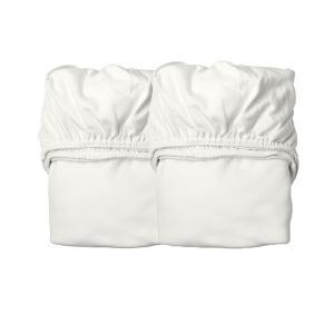 Leander - 780011-60 - Lot de 2 draps housses berceau en coton BIO, Blanc (452370)