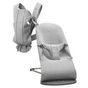 Babybjorn - BU004 - Pack  nouveau-né (transat bliss, porte-bébé) Gris clair, Jersey 3D (453017)