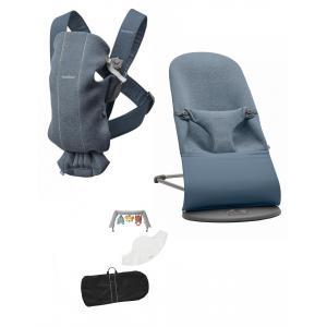 Babybjorn - BU009 - Pack Medium nouveau-né Gris charbon, Jersey 3D - transat, porte-bébé mini et accesoires (453027)