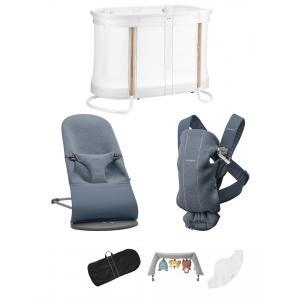 Babybjorn - BU011 - Pack Premium nouveau-né Bleu chiné, Jersey 3D - berceau évolutif, transat et porte-bébé (453031)