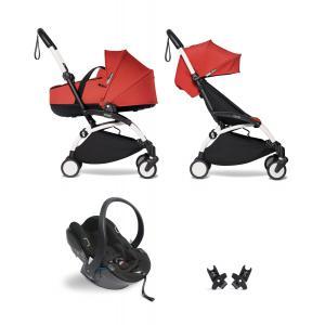 Babyzen - BU864 - Poussette YOYO² nacelle 6+ Rouge, siège auto - cadre blanc (454060)